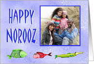 Happy Norooz, custom photo card, with fish, from our house to yours card
