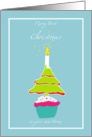 first Christmas in your new home, cupcake, candle and tree card
