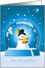 cute snowman holding a christmas tree in a blue snowglobe, believe in Christmas card