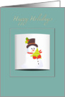 happy holidays, cute snowman holding a christmas tree on a blue frame card