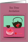 tea time invitation teapot and yummy cake card