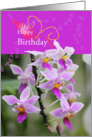 happy birthday delicat pink orchid blossom card