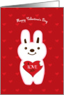 I love you red heart and cute white rabbit card