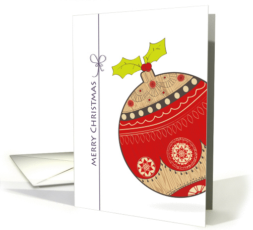 merry Christmas, cute stylized Christmas bauble card (878841)