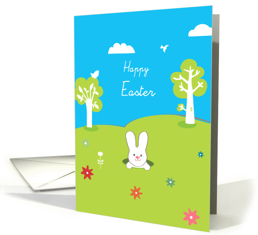 happy easter, cute rabbit coming out of his burrow card (908902)