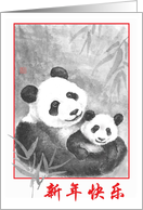 Happy Chinese New Year-Panda-Chinese Character card