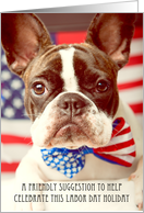 Happy Labor Day, French Bulldog Card