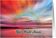 Get Well Soon greeting card,rainbow,sunset card
