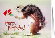 Happy Birthday card, magic sand squirrel with flowers card