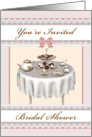 Bridal Shower Tea Table Setting Desserts Invitation - Pink card