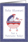Stars & Stripes Patriotic Baby Carriage Baby Shower Invitation card