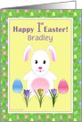 Happy First Easter Easter Bunny and Eggs Custom Card