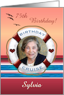 75th Cruise Birthday Sunset Personalized Photo Invitation card