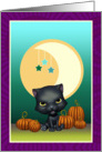Black Cat Moon and Stars Blank Note Card