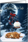 Merry Yule Sleeping Winter Fawn and Ornament Moon card
