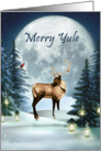 Merry Yule Winter Stag Moon Candles and Trees card