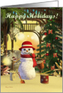 Happy Holidays Tropical Snowman Palm Trees, Sand and Christmas Tree card