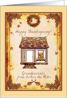 Grandparents Across the Miles Happy Thanksgiving - house, leaves, autumn foliage card