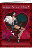 Happy Valentine's Day - Sexy Cupid Lady bow and arrows card