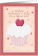 Sweet Girl Happy Valentine's Day - Cupcake card