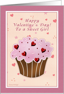 Sweet Girl Happy Valentines Day - Cupcake card