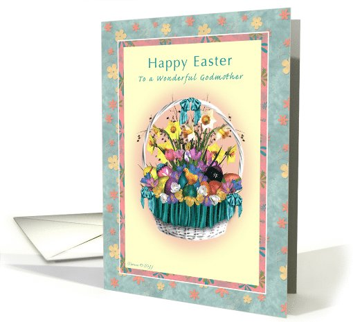 Godmother - Happy Easter - Easter Basket with Flowers card (784989)