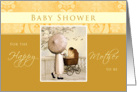 Baby Shower - Mom with Carriage and Umbrella- Golden Yellow card