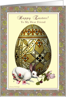 Friend - Happy Easter - Bunny and Egg Floral card