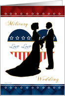 Military Wedding - Silhouette Stars and Stripes Heart card