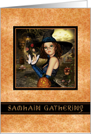 Samhain Gathering Invitation - Autumn Witch Orange Leaves card