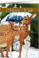 Merry Yule Doe and Fawn, Deer, Winter, Snow, Pagan Card