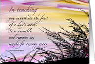 Teacher Retirement Congratulations - Watercolored Sunset, Sky, Sea, Grass card