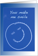 You make me smile - Smiley Face Skywriting on Blue Sky card