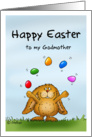 Happy Easter Godmother - Cute Bunny juggling with eggs card