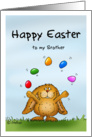 Happy Easter to my Brother - Cute Bunny juggling with eggs card