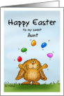 Happy Easter to my Aunt - Cute Bunny juggling with eggs card