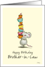 Happy Birthday Brother-in-Law - Cute Mouse with a pile of cupcakes card