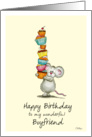Happy Birthday Boyfriend - Cute Mouse with a pile of cupcakes card