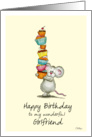 Happy Birthday Girlfriend - Cute Mouse with a pile of cupcakes card