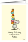 Happy Birthday Niece - Cute Mouse with a pile of cupcakes card