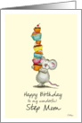 Happy Birthday Step Mom - Cute Mouse with a pile of cupcakes card