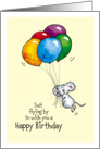 Happy Birthday - Whimsical Mouse with Balloons card