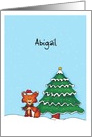 Personalize with name - Cute Fox with Christmas Hat and Christmas Tree card