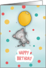 Happy Birthday - Cute Cate floating by with a balloon! card