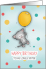 Happy Birthday to my lovely sister Cute Cat floating by with balloon! card