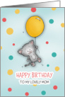 Happy Birthday to my lovely mom! Cute Cat floating by with balloon! card