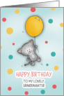 Happy Birthday to my lovely granddaughter! Cute Cat with balloon! card