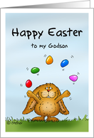 Happy Easter to my Godson- Cute Bunny juggling with eggs card