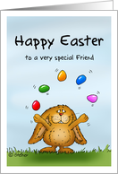 Happy Easter to a special Friend - Cute Bunny juggling with eggs card