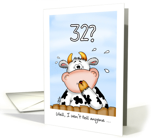 32nd Birthday- Humorous Card with surprised cow card (1023055)
